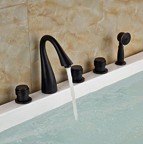 GOWE Brass ORB Waterfall Bathtub Sink Faucet Three Handles Mixer Tap Deck Mount with Handshower Sprayer 0
