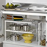 Under Sink Plumbing 2 Tier Expandable Under Sink Shelf Storage Shelves Kitchen Organizer (White)