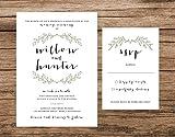 Rustic Wedding Invitation, Green Wreath Wedding Invitation, Simple Boho Wedding Invitation
