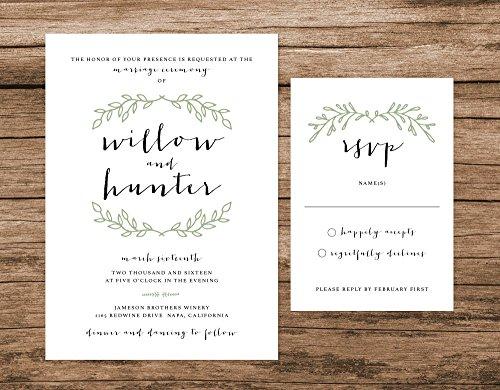 Rustic Wedding Invitation, Green Wreath Wedding Invitation, Simple Boho Wedding Invitation by Alexa Nelson Prints