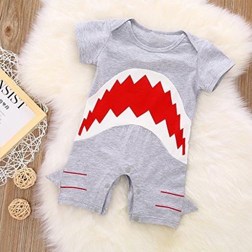 MIOIM Cute Infant Baby Boys Shark Short Sleeve Bodysuit Romper Jumpsuit Onesie, Grey, 18-24 Months (Tag Size: 100)