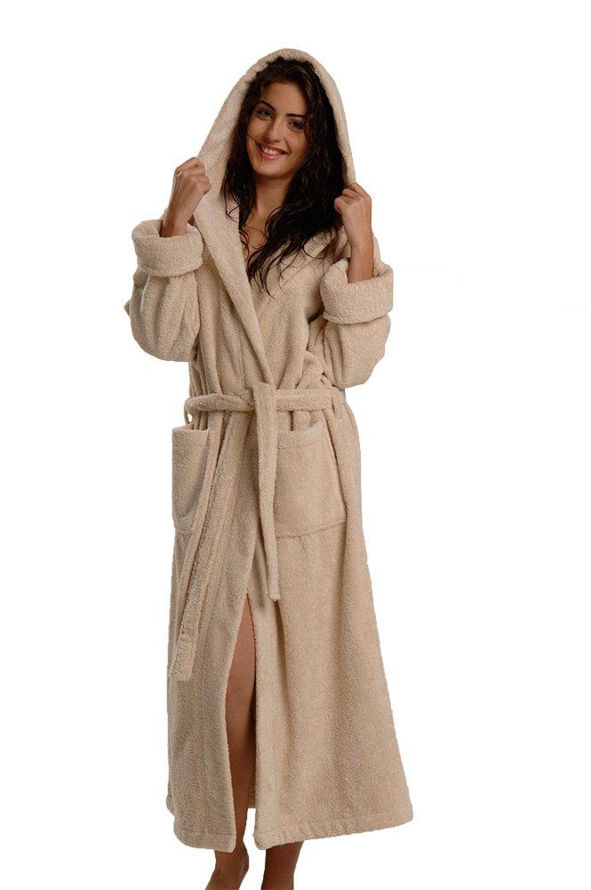 660 GSM, Original Thirsty Towels robe, Turkish Cotton Robe Hooded Luxury Bathrobe for Men and Women (3XL, Creme)