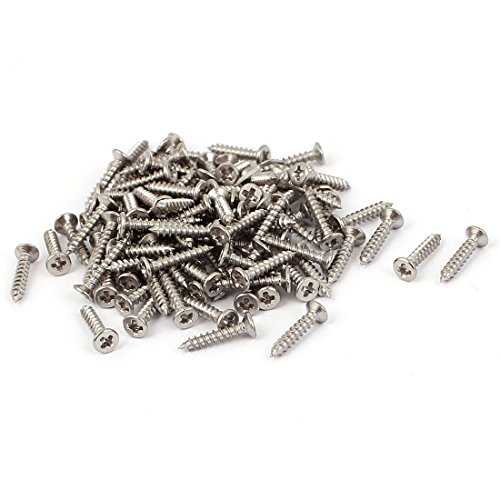 uxcell M1.8 x 10mm Phillips Flat Head Self Tapping Screw Silver Tone 100 Pcs