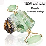 Facial Bones Routine - Jade Roller for Face Real Jade Anti Aging Beauty Roller Ball Set for Reduce Wrinkle Puffiness Tension in Face with Therapy Roller-100% Real Jade with Upgraded Protection Package