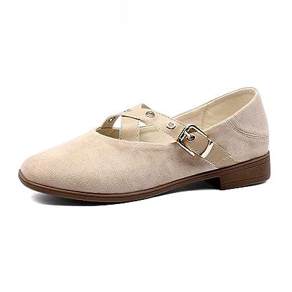Zapatos para mujer HWF Cómodo y Suave, con Punta Redonda y Plana Slip-on