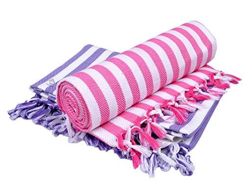 Sathiyas Supreme 480 GSM Cotton Bath Towel (Set of 2, Lavender and Pink)