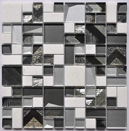 Mosaic Tile Marble Tile Glossy Glass Subway Tile for Kitchen Backsplash or Bathroom Backsplash (Mosaic 4)