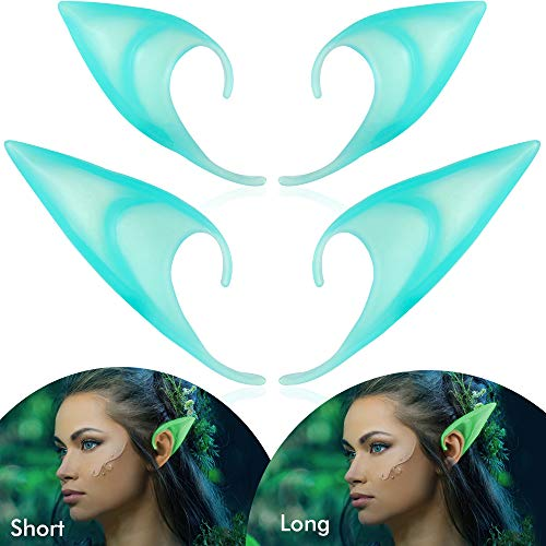 2 Pairs Elf Ears - Medium and Long Style Cosplay Fairy Luminous Pixie Elf Ears Soft Pointed Ears Tips Anime Party Dress Up Costume Masquerade Accessories Elven Vampire Fairy Ears Glowing In The Dark -