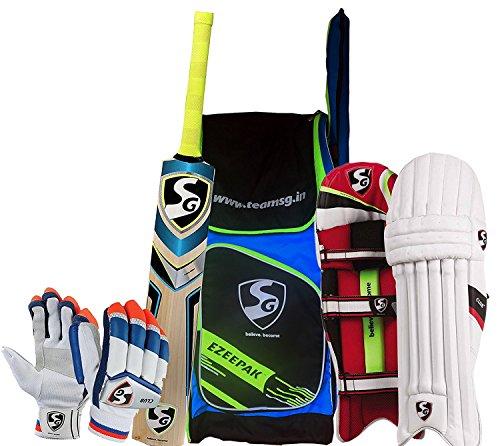 SG Batting Cricket Kit Combo (Ezeepak Kitbag + Nexus Plus Kashmir Willow bat, Full Size + Club Legguard + Club Batting Gloves) - Men's (Full Size) by SG