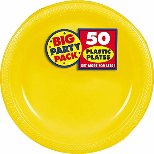 Amscan Big Party Pack 50 Count Plastic Lunch Plates, 10.5-Inch, Sunshine Yellow