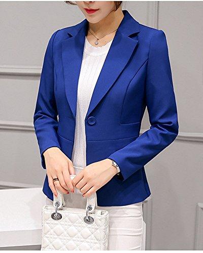 Blazer Giacca Slim Risvolto Bottone Donna Singolo Yonglan Lunga Casual Con Fit Manica Blu Zaffiro BwAtPn1q