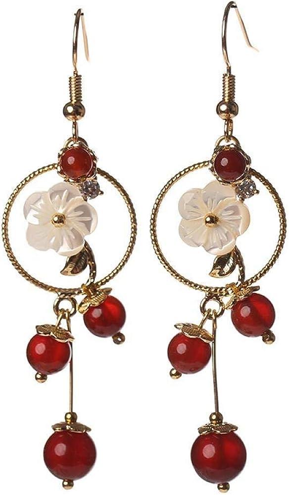Pendientes Pendientes largos retro pendientes de ágata roja pendientes exagerados clip de oreja temperamento pendientes salvajes mujeres