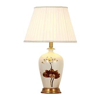 Klassische Kupfer Keramik Tischlampe Retro Luxus Schlafzimmer