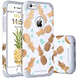 iPhone 6 Case, iPhone 6S Case, iPhone 6 Phone Case, BENTOBEN Slim Hybrid iPhone 6S 6 Case with Shiny Cute Gold Pineapple Pattern Design Shockproof Hard PC Back Cover Soft Silicone Rubber Bumper Dual Layer Glossy Finish Protective Phone Cases for iPhone 6/6s (4.7 Inch), White/Gray