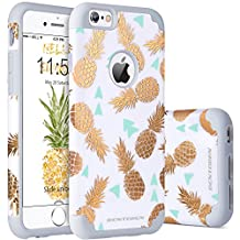 iPhone 6 Case, iPhone 6S Case, iPhone 6 Phone Case, BENTOBEN Slim Hybrid iPhone 6S 6 Case with Shiny Cute Gold Pineapple Pattern Design Shockproof Hard PC Back Cover Soft Silicone Rubber Bumper Dual Layer Glossy Finish Protective Phone Cases Cover for iPhone 6/6s (4.7 Inch), White/Gray