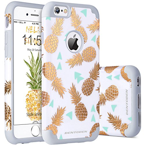 iPhone 6s Case, iPhone 6 Case Pineapple, BENTOBEN Ultra Slim Gold Pineapple Design Hard PC Soft Rubber Glossy Anti-Scratch Shock Proof Protective Case Cover for iPhone 6 6s 4.7
