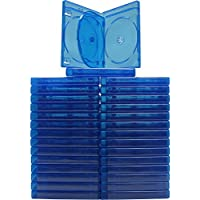 (30) Empty 21 mm Thick Quad Blue Replacement Boxes / Cases for Blu-Ray DVD Movies - Holds 4 Discs  - BR4R21BL
