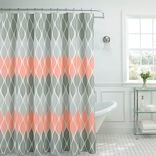 Clarisse Faux Linen Textured 70 x 72 in. Shower Curtain with 12 Metal Rings, Blush