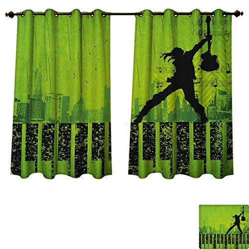 PriceTextile Popstar Party Blackout Thermal Curtain Panel Music in The City Theme Singer with Electric Guitar on Grunge Backdrop Patterned Drape for Glass Door Lime Green Black Size W72 xL45