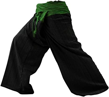 kittiya 2 Tono Pescador Pantalones Tailandeses Pantalones Yoga Plus Tamaño TAMAÑO Libre de algodón con Rayas de Algodón [Green-Back]: Amazon.es: Deportes y aire libre