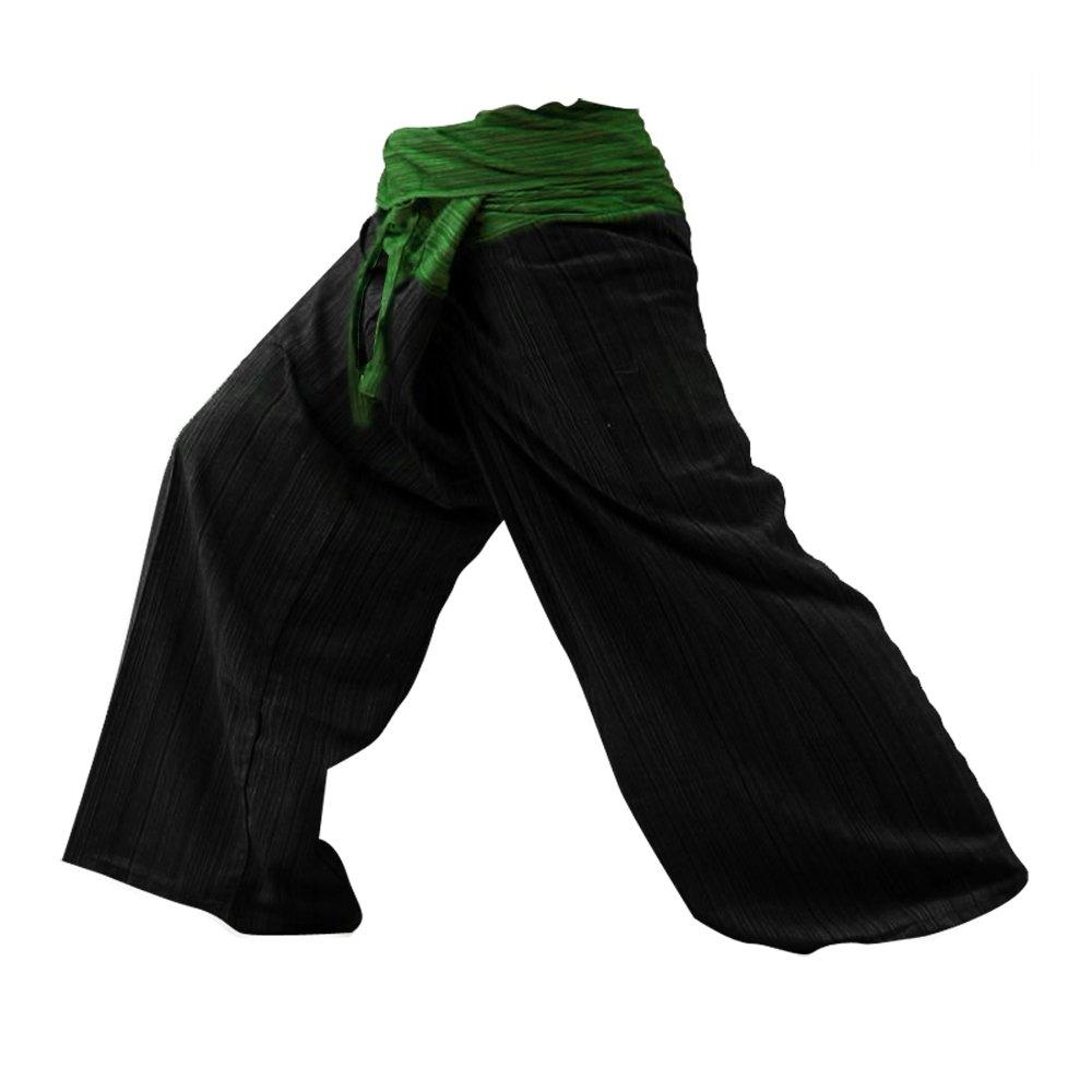 2 TONO Pescador Pantalones Tailandeses Pantalones Yoga Plus Tamaño TAMAÑO LIBRE de algodón con rayas de Algodón [Green-Back]