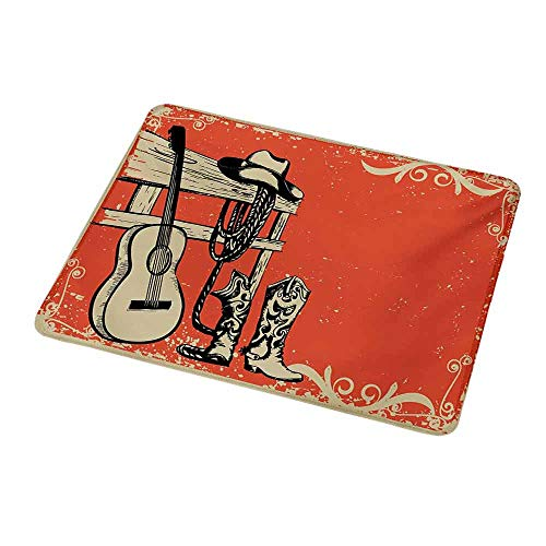 - Rectangle Mouse pad Western,Image of Wild West Elements with Country Music Guitar and Cowboy Boots Retro Art,Beige Orange,Waterproof Material Non-Slip Personalized Rectangle Mouse pad 9.8