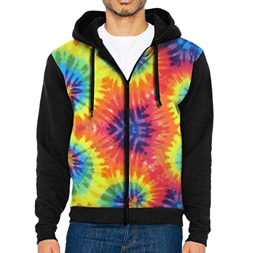 (MHBGMYES Tie Dye Lightweight Man's Jacket with Hood Long Sleeved Zippered Outwear)