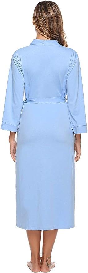 iClosam Batas Mujer Algodón Largo,Kimono con Cinturón Primavera ...
