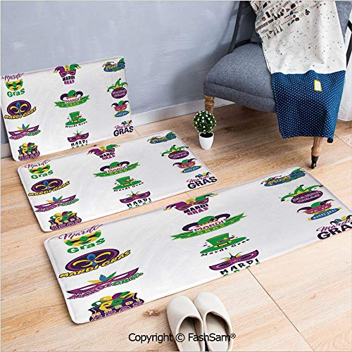 3 Piece Non Slip Flannel Door Mat Set of Carnival Masks Hats and Fleur De Lis Symbols Colorful Joyous Collection Decorative Indoor Carpet for Bath Kitchen(W15.7xL23.6 by W19.6xL31.5 by W15.7xL39.4) ()