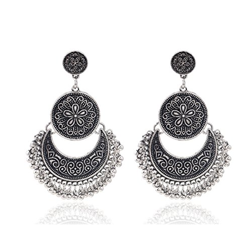 primerry Simple Flowers Round Pendant Plating Alloy Pierce Earrings (Silver)