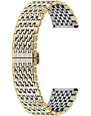Kai Tian 9 Rows Watch Band Stainless Steel 18mm 20mm 22mm Watch Bands for Men Women Tapered Straps Metal Deployment Buckle Black Gold Rose Gold Silver