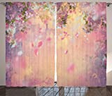 Ambesonne House Decor Curtains 2 Panel Set, Cherry Tree Blossom Cheerful Childish Fun Cartoon Art Garden in Sakura Season, Living Room Bedroom Decor, 108 W X 90 L Inches, Pink Green Black Review