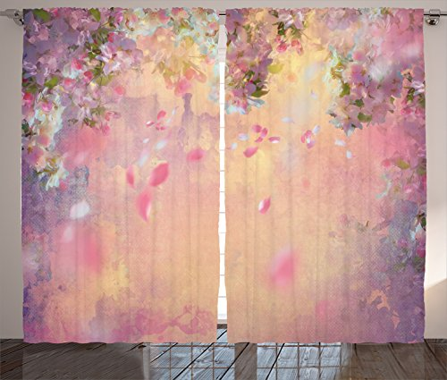 House Decor Curtains 2 Panel Set by Ambesonne, Cherry Tree Blossom Cheerful Childish Fun Cartoon Art Garden in Sakura Season, Living Room Bedroom Decor, 108 W X 90 L Inches, Pink Green Black Cheerful Blossoms
