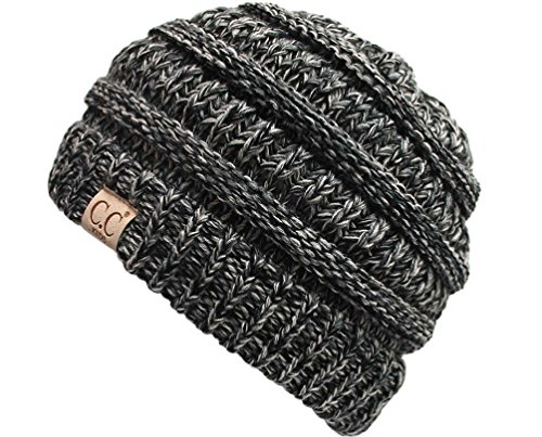 H-3847-816.06 Children's 4 Color Ribbed Beanie (NO POM) - Black (#31) (Boys Beanie)