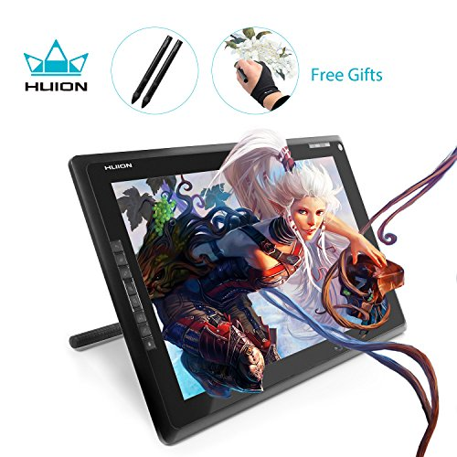 Huion GT-185 Graphic Drawing Tablet Monitor Pen Display with 8 Express Keys 2 Digital Pens and Artist Glove - 18.5 inches