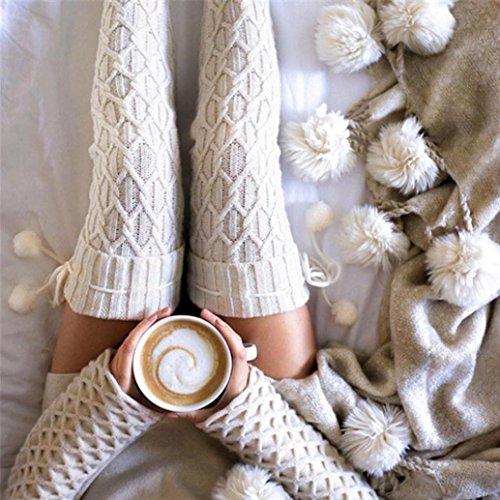 Calze Invernali Da Donna, Ad Esemonne, Calze Lunghe Da Lavoro A Maglia, Calze Autoreggenti Sopra La Coscia Alta Bianco
