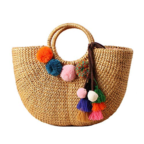 Summer Straw Bag Pom Pom Women Beach Handbag Top Handle Shoulder Bag Travel Tote Purse
