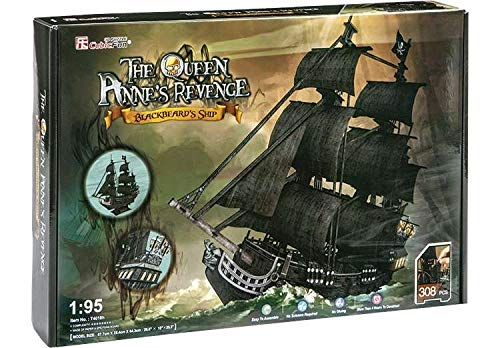 CubicFun 3D Puzzle Pirate Ship Model Ship and Boat Kit Vessel Set for Adults, Large and Difficult Queen Anne's Revenge (Edition Giant) 308 Pieces from CubicFun