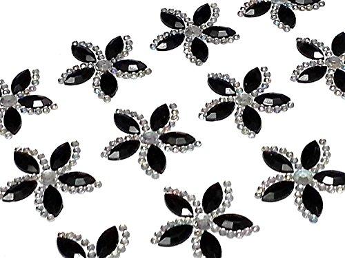 CraftbuddyUS CB054 12 Black Diamante Self Adhesive Stick on Flower Gems Wedding Craft