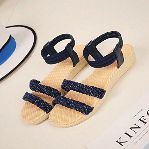 Elevin (tm) Dames Zomer Mode Bloemen / Bandage / Gestreepte Bohemen Peep-toe Platte Flip Flop Sandaal Schoenen Navy 1