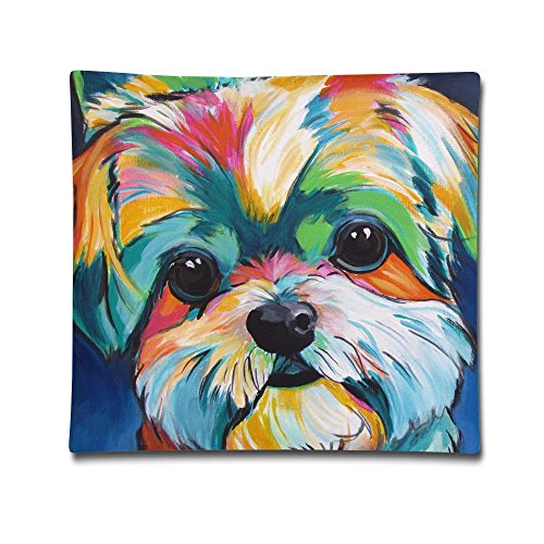 Longnankejilifeaa Colorful Maltese Puppy Art Throw Pillow Cases Cushion Covers Decorative Stylish Square Standard Pillowcases For Beach Home Sofa Couch Bedroom Car 18 X 18 Inch