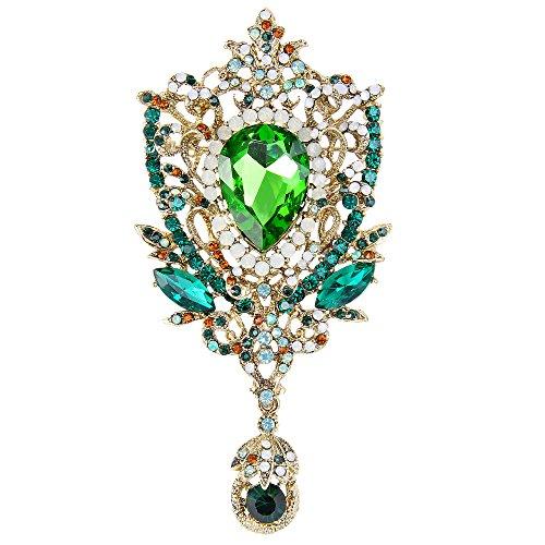 Tone Brooch Flower Gold Rhinestone - EVER FAITH Women's Rhinestone Crystal Royal Flower Bouquets Brooch Pendant Emerald Color Gold-Tone