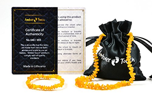 Amber Teething Necklace for Babies - Anti Inflammatory, Drooling and Teething Pain Reducing Natural Remedy - Made of Highest Quality Certified Baltic Amber