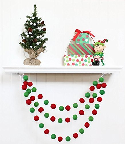felt ball garland christmas christmas pom pom garland holiday decor christmas tree decor