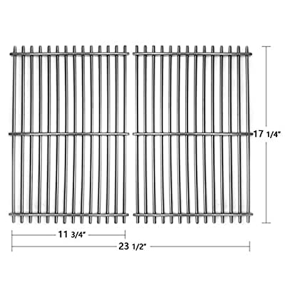 """Hongso 17 1/4"""" SUS304 Stainless Grill Grate Replacement for Old Weber Spirit E-310 S-310 E-320 S-320, Genesis Silver Platinum & Gold B/C, Grill Grids 7527 7526 7525 9930 2-Pack(SCI930)"""