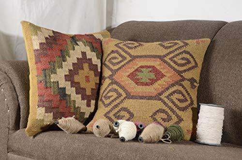2 Set of Kilim Cushion Cover Jute Ethnic Pillow Boho Hand Woven Shams Hippie Indian Throw ()