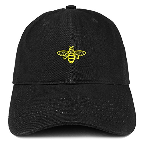 Trendy Apparel Shop Bee Embroidered Brushed Cotton Dad Hat Cap - Black]()