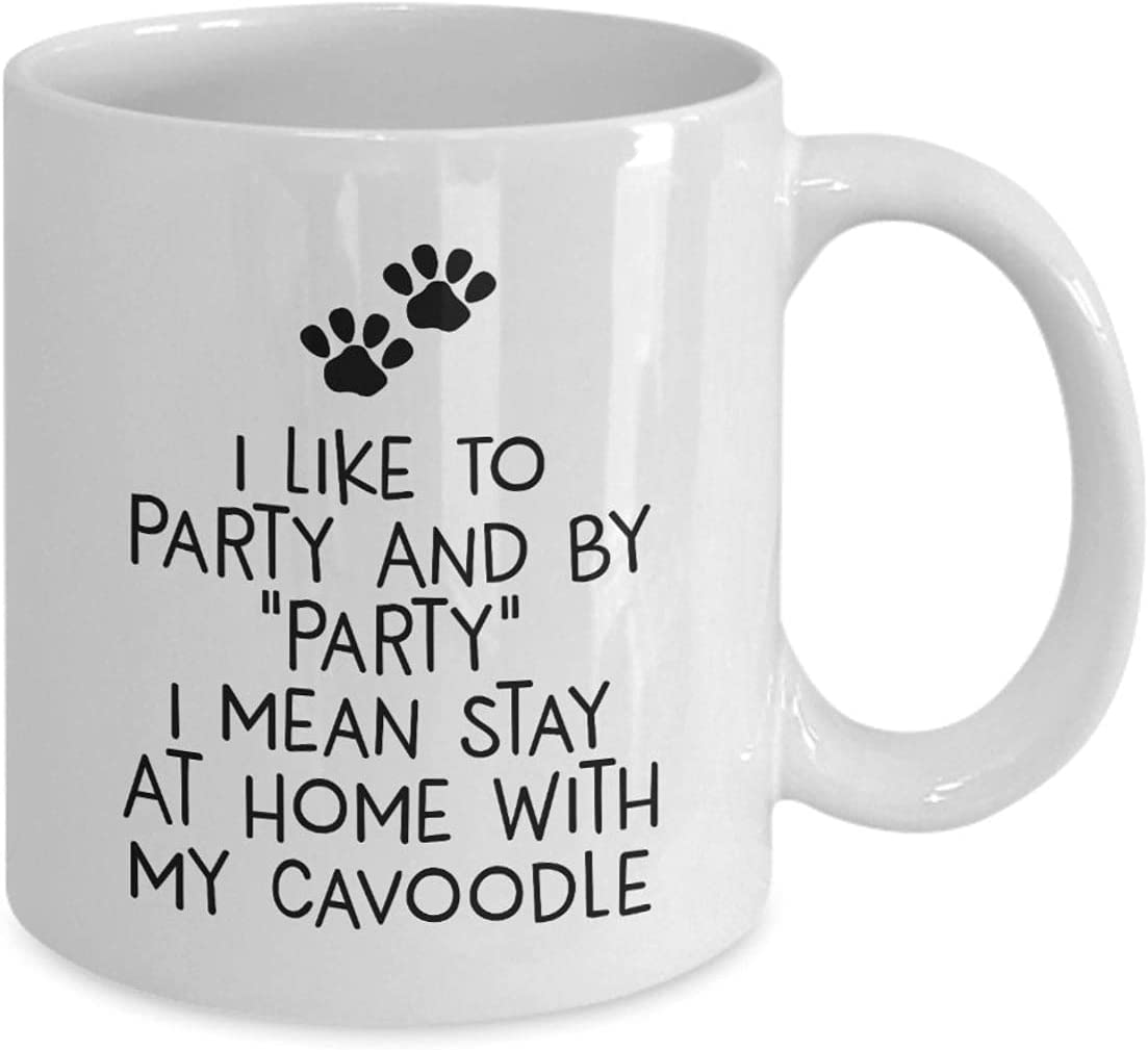 11 oz White Ceramic Mug, I Like To Party, Stay At Home With My Cavoodle - Mug for husband, wife, boyfriend, girlfriend, gift birthday, christmas