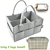MyTickles Gray Diaper Caddy Organizer with a Free Storage Holder   Light, Portable and Collapsible Great for Traveling   Perfect Baby Shower Gift!
