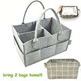MyTickles Gray Diaper Caddy Organizer with a Free Storage Holder | Light, Portable and Collapsible Great for Traveling | Perfect Baby Shower Gift!